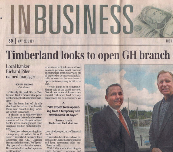 "Newspaper clipping with headline reading ""Timberland looks to open GH (Gig Harbor) branch"""